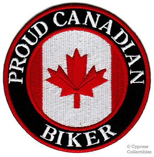 PROUD CANADIAN BIKER embroidered PATCH CANADA FLAG new IRON-ON APPLIQUE EMBLEM