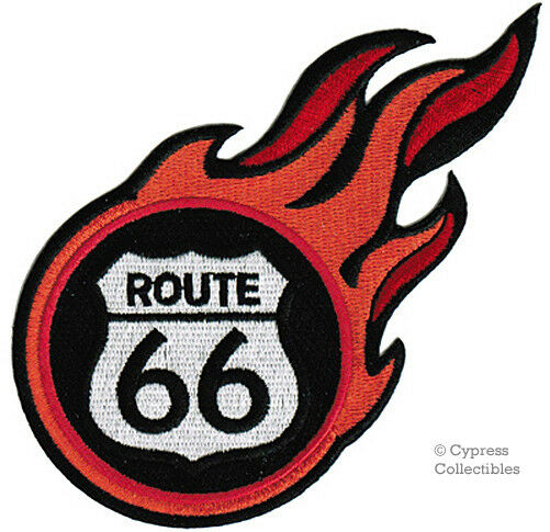 FLAMING ROUTE 66 iron-on PATCH Embroidered HISTORIC HIGHWAY SIGN FLAME SOUVENIR
