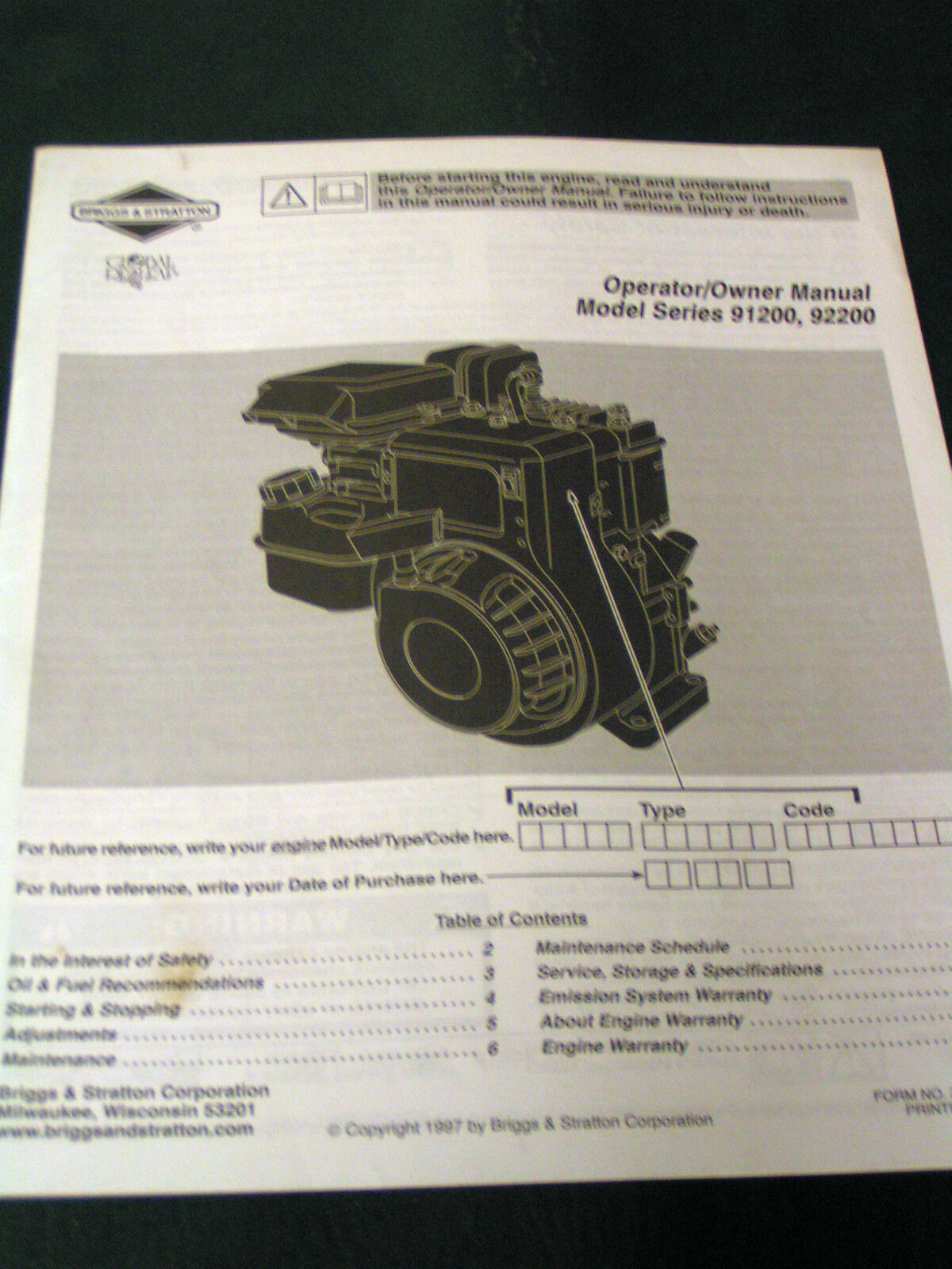 Briggs & Stratton Small Engine Operator's Manual-Model#91200 / 92200 1 of  1Only 1 available See More