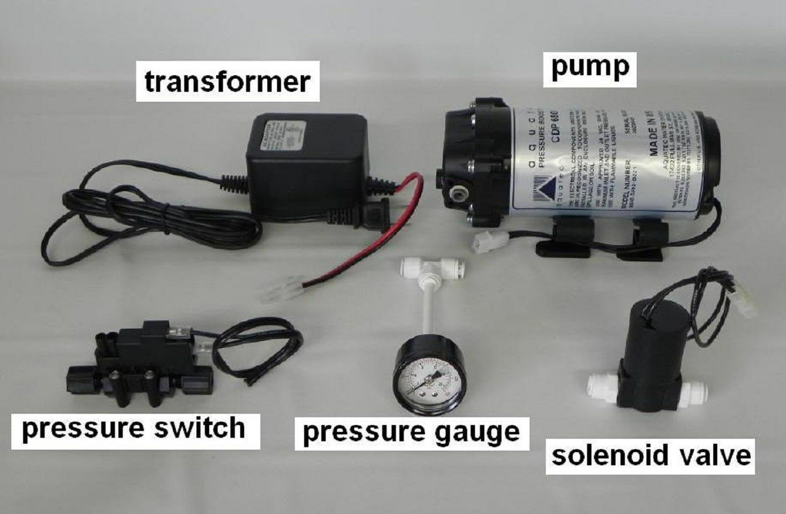 aquatec cdp 6800 booster pump set solenoid valve pressure switch ro water new. Black Bedroom Furniture Sets. Home Design Ideas