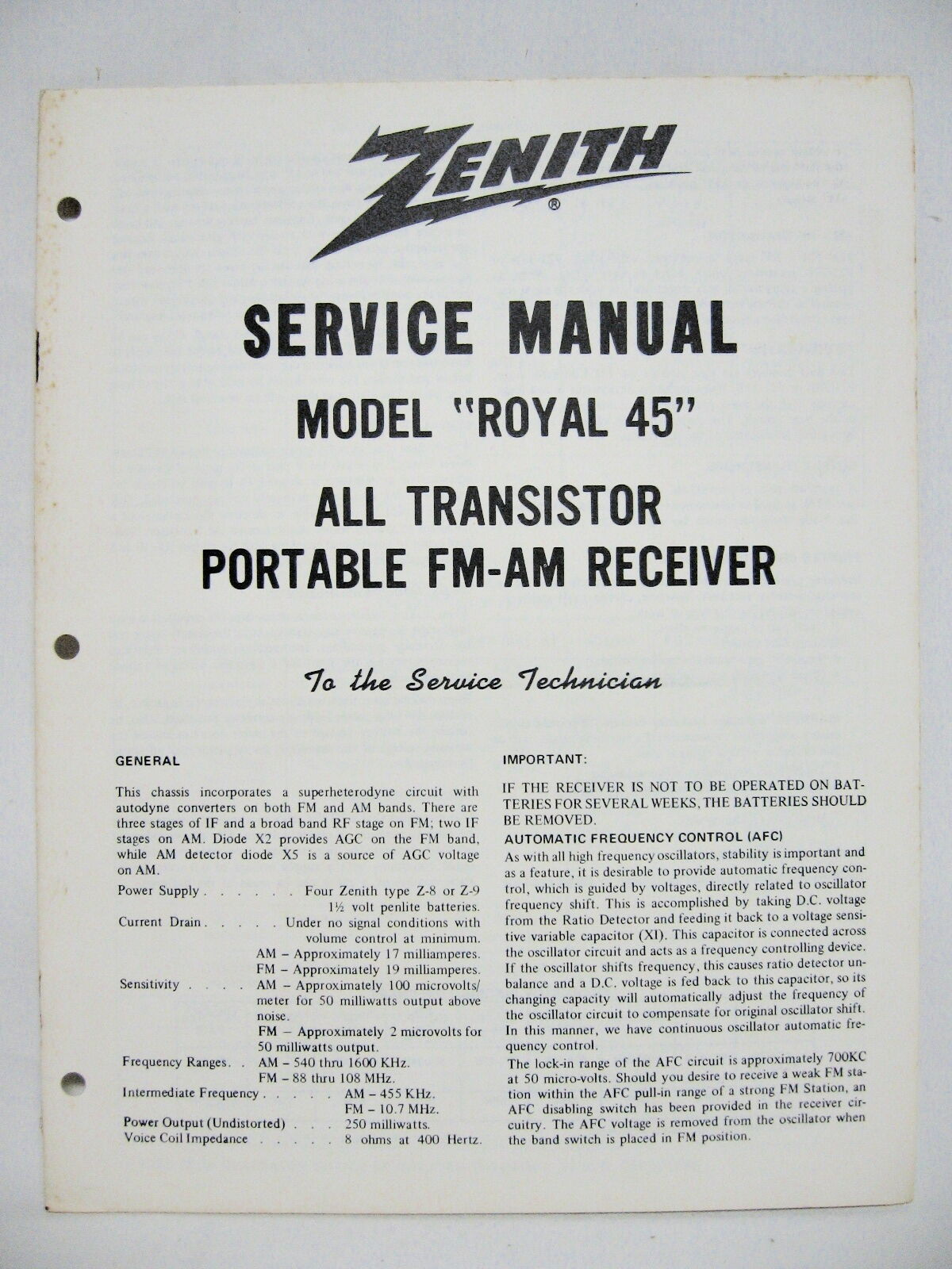 Zenith Royal 45 Tr Tor Radio Original Service Manual 775. 1 Of 1only Available. Wiring. Zenith 5g03 Wiring Diagram At Scoala.co