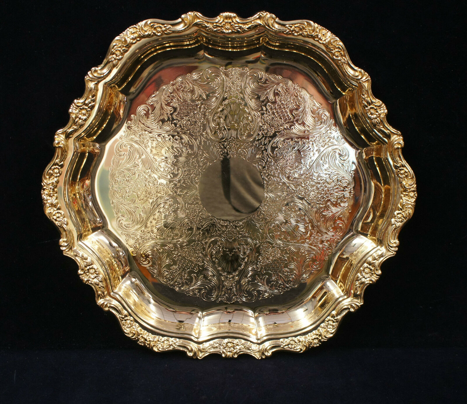 1 Very Fancy Countess International Silver CO Gilded Serving Platter Tray 6271