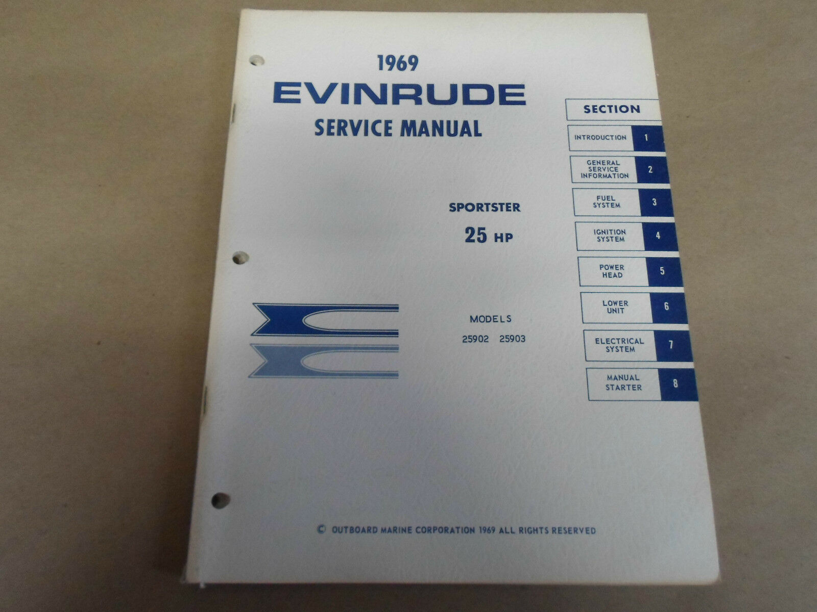 1969 Evinrude Sportster 25 HP 25HP Service Shop Repair Manual NEW 25902  25903 x 1 of 12Only 2 available ...