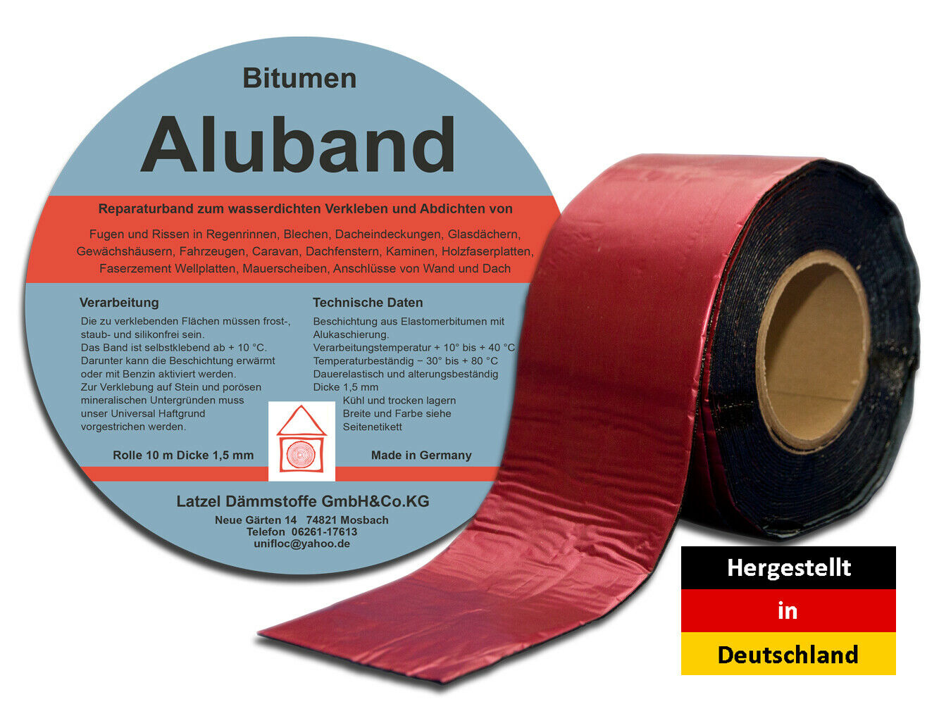 bitumen aluband reparaturband farbe rot 150 mm eur 12 60 picclick de. Black Bedroom Furniture Sets. Home Design Ideas