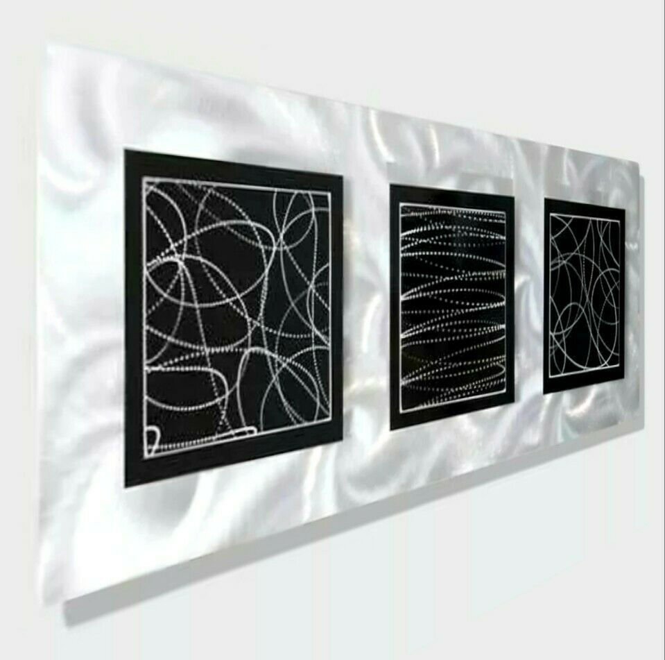 ABSTRACT MODERN METAL Wall Art Home Black Silver Decor Accent By Jon ...