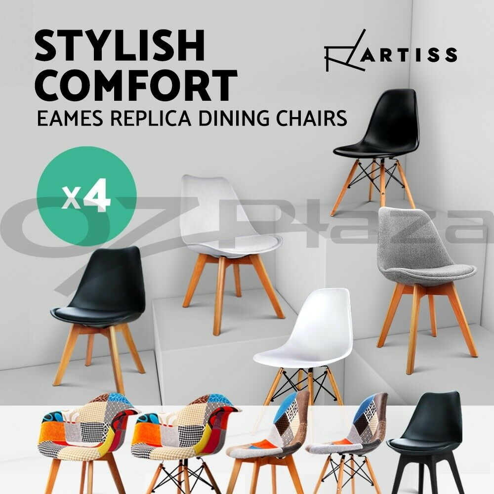 4 x retro replica eames dsw dining chairs daw armchair for Eames replica deutschland