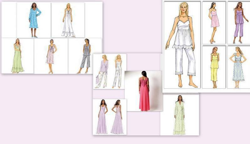 BUTTERICK SEWING PATTERN Misses Nightgown Robe Pajamas Top Pants You ...