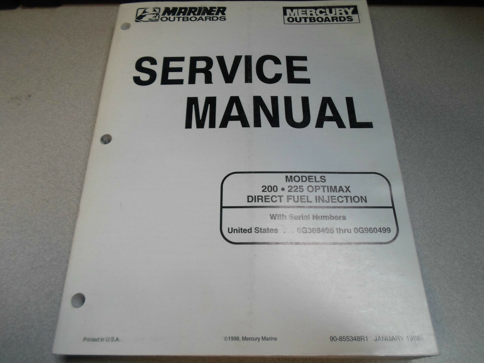 1 of 12Only 2 available Mercury Mariner Outboards Service Manual 200 225  Optimax DFI 90-855348R1 OEM x