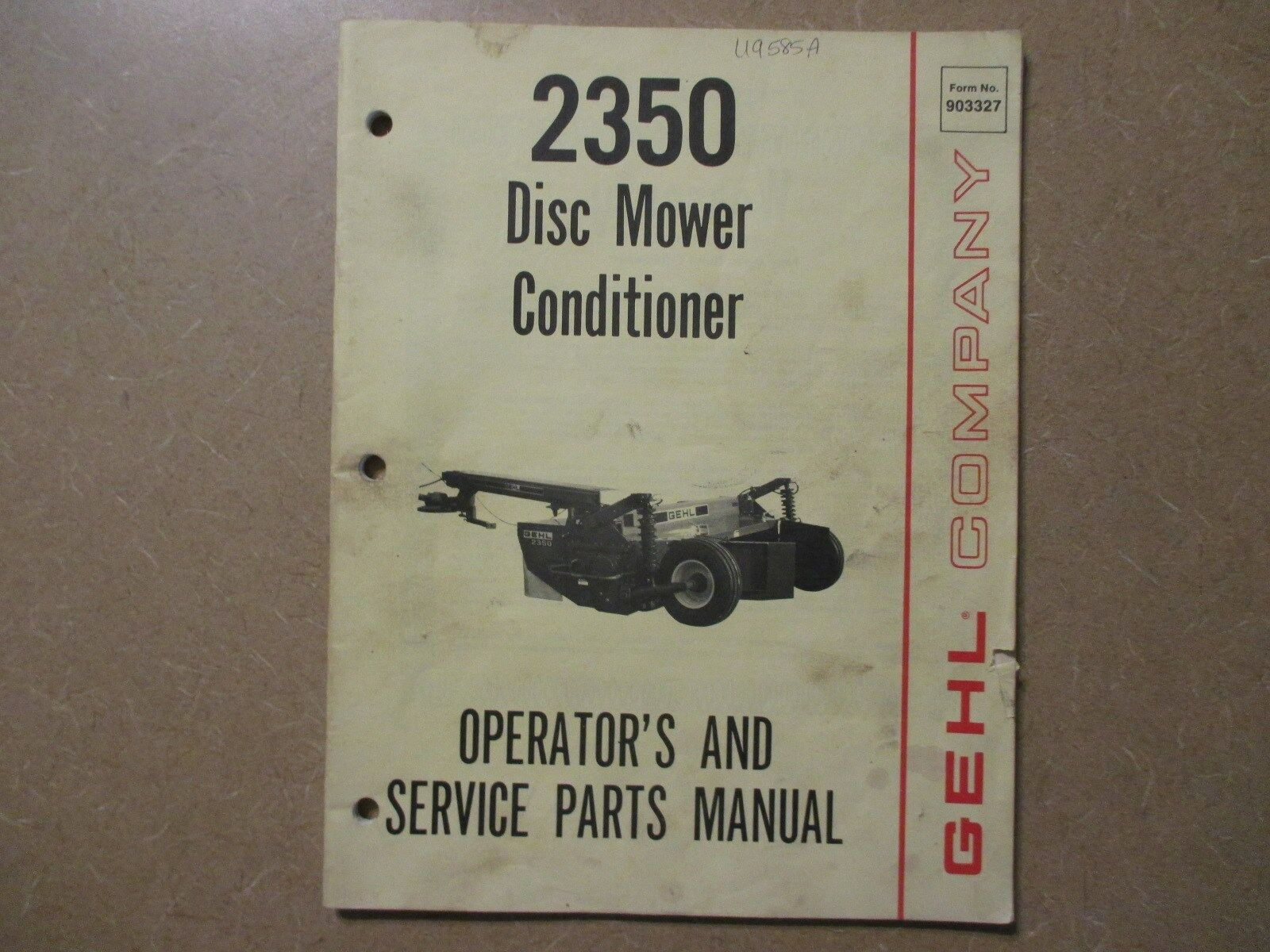 Gehl 2350 disc mower conditioner parts & owners manual 1 of 1Only 1  available ...