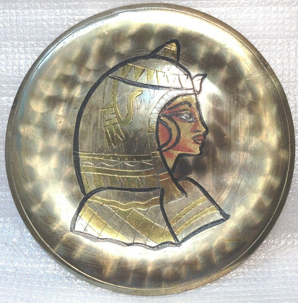 Antique Egyptian Very Nice Hand Made Brass Plate Dish MADE IN EGYPT