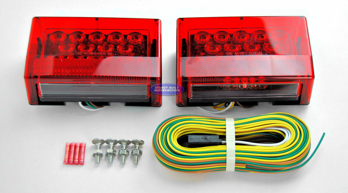Boat Trailer Sealed Led Submersible Light Kit W 25 Wiring Harness 1 Of 1free Shipping