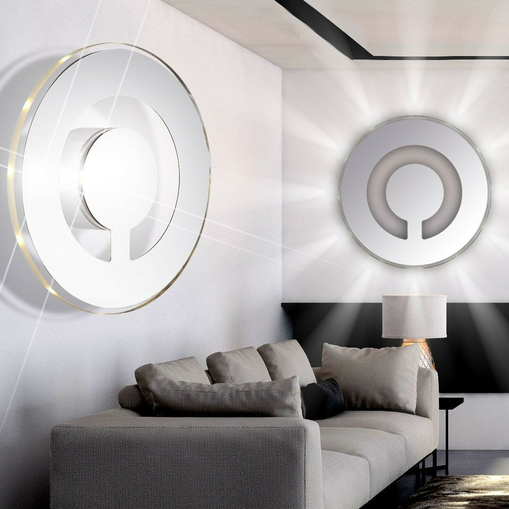 led wand lampe design licht flur bad spiegel beleuchtung rund glas rand lampe eur 42 80. Black Bedroom Furniture Sets. Home Design Ideas