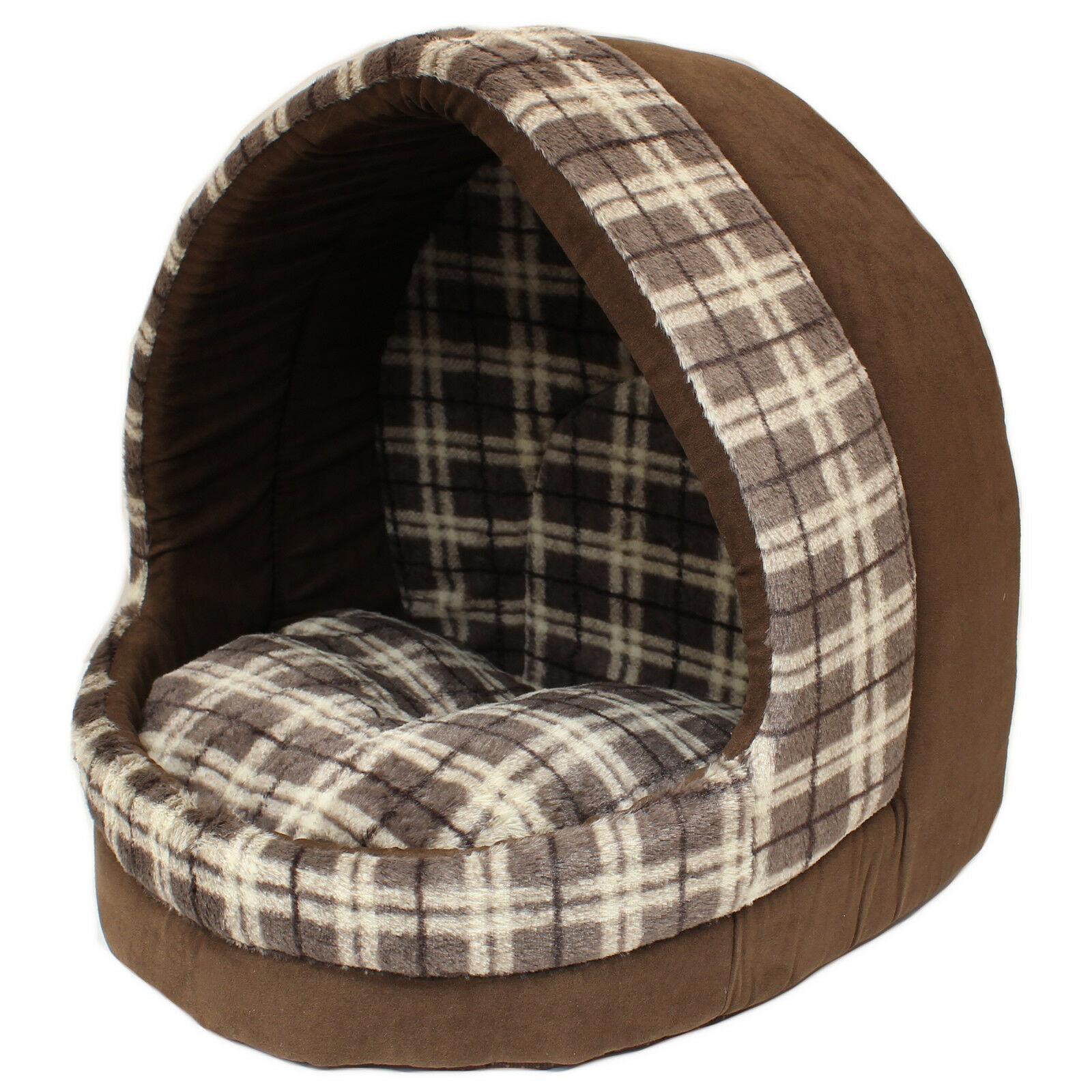 Me & My Large Brown Check Cat/dog Igloo Pet Bed Warm House/mat/snug Puppy/kitten