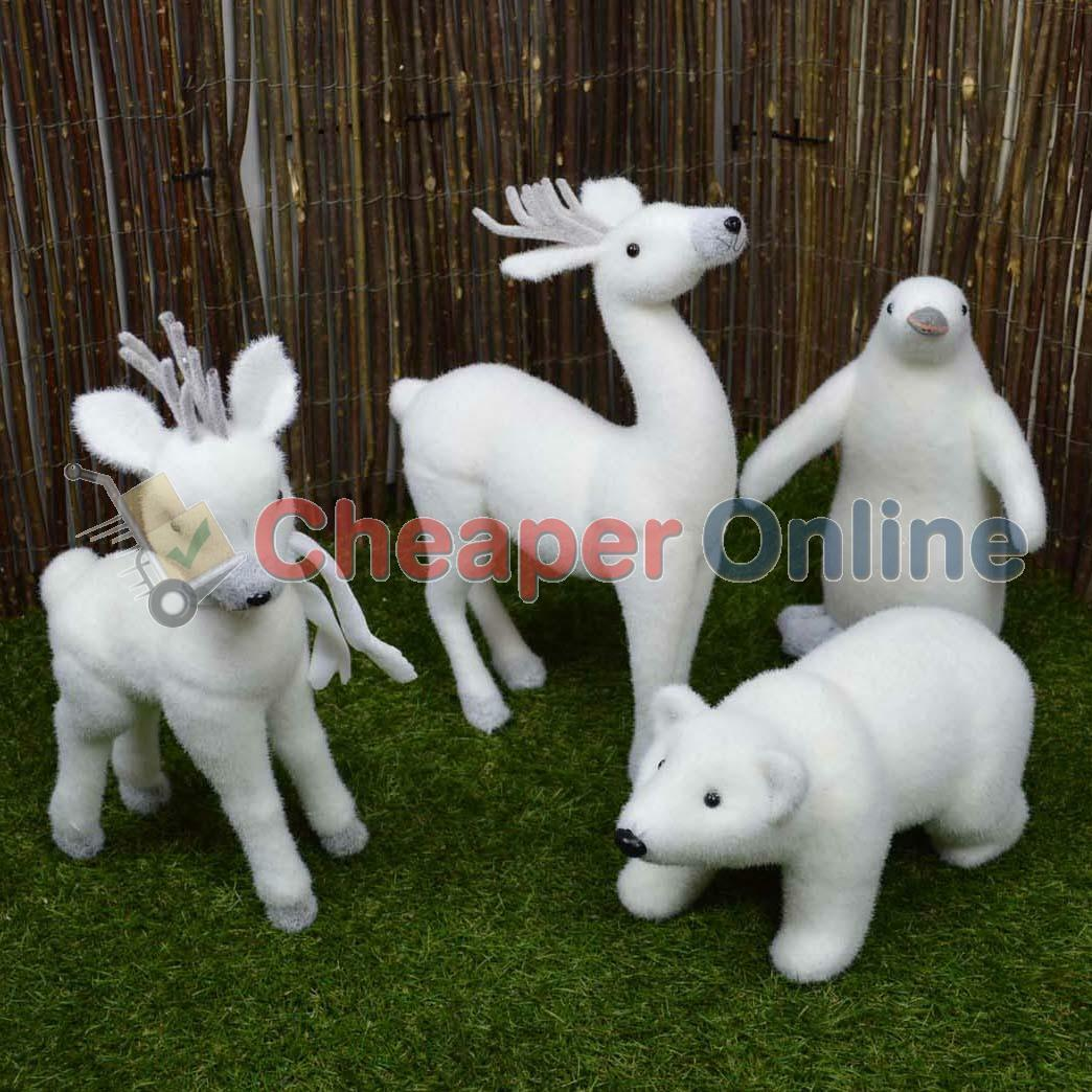 Indoor christmas snow animal statue decoration reindeer for Bear decorations for home