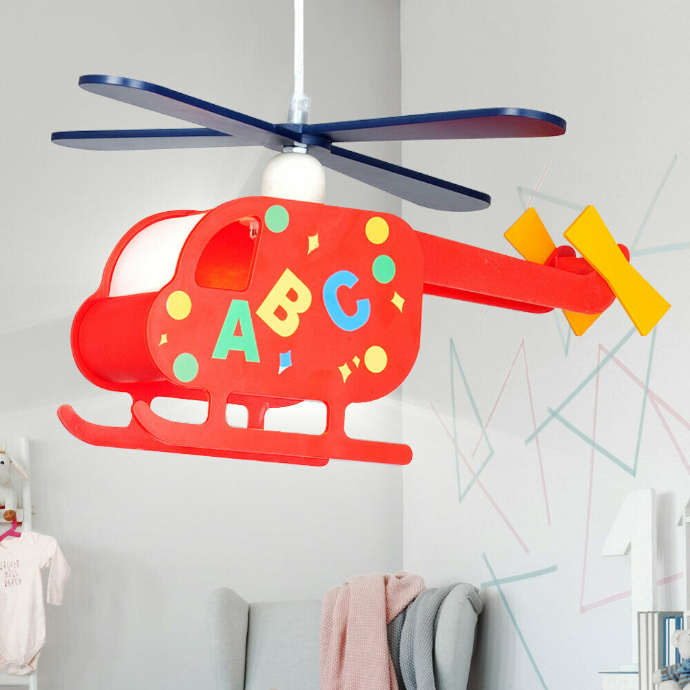 pendel lampe kinderzimmer leuchte spielzimmer hubschrauber helikopter lampe bunt eur 22 50. Black Bedroom Furniture Sets. Home Design Ideas