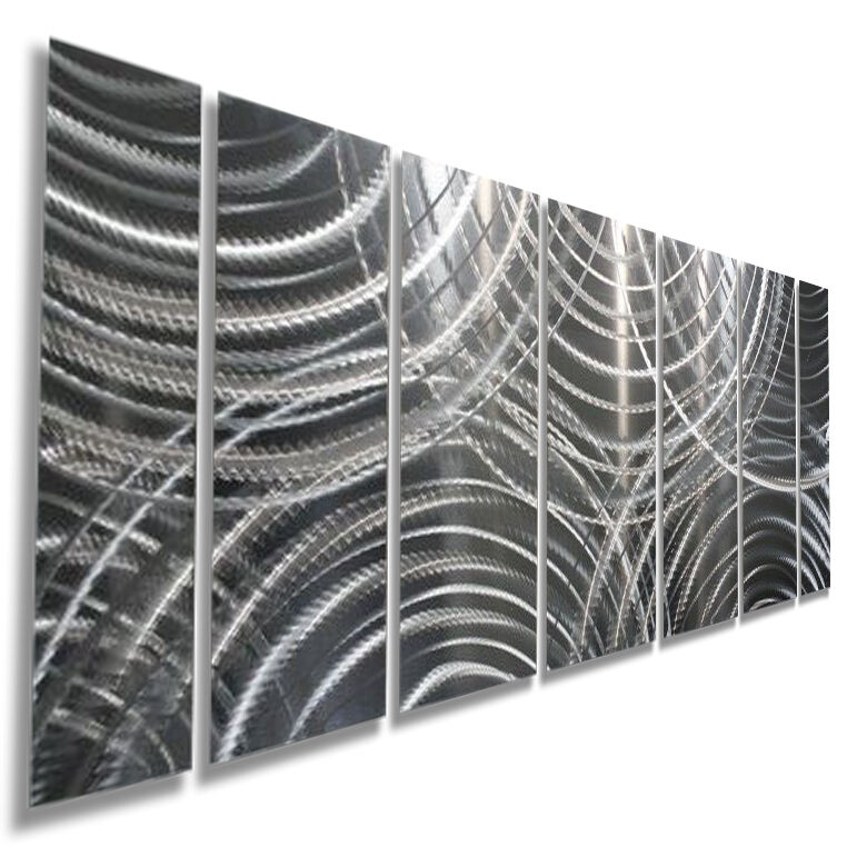 METAL ABSTRACT MODERN Wall Art Silver Sculpture Home Decor Original ...