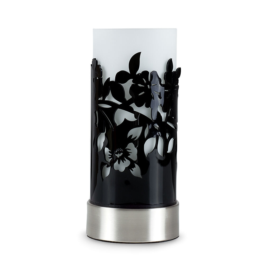 Modern brushed chrome black acrylic floral touch table lamp bedside light home - Black touch lamps bedside ...