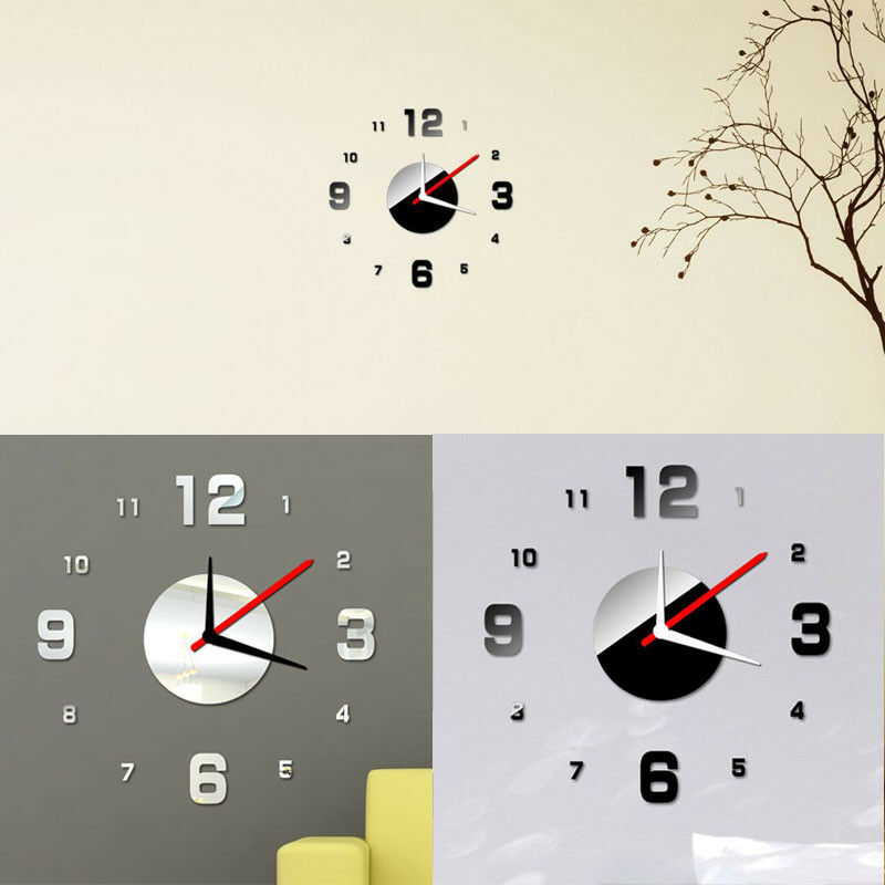 moderne diy horloge sticker murale 3d bricolage maison bureau decor surface eur 3 42 picclick fr. Black Bedroom Furniture Sets. Home Design Ideas
