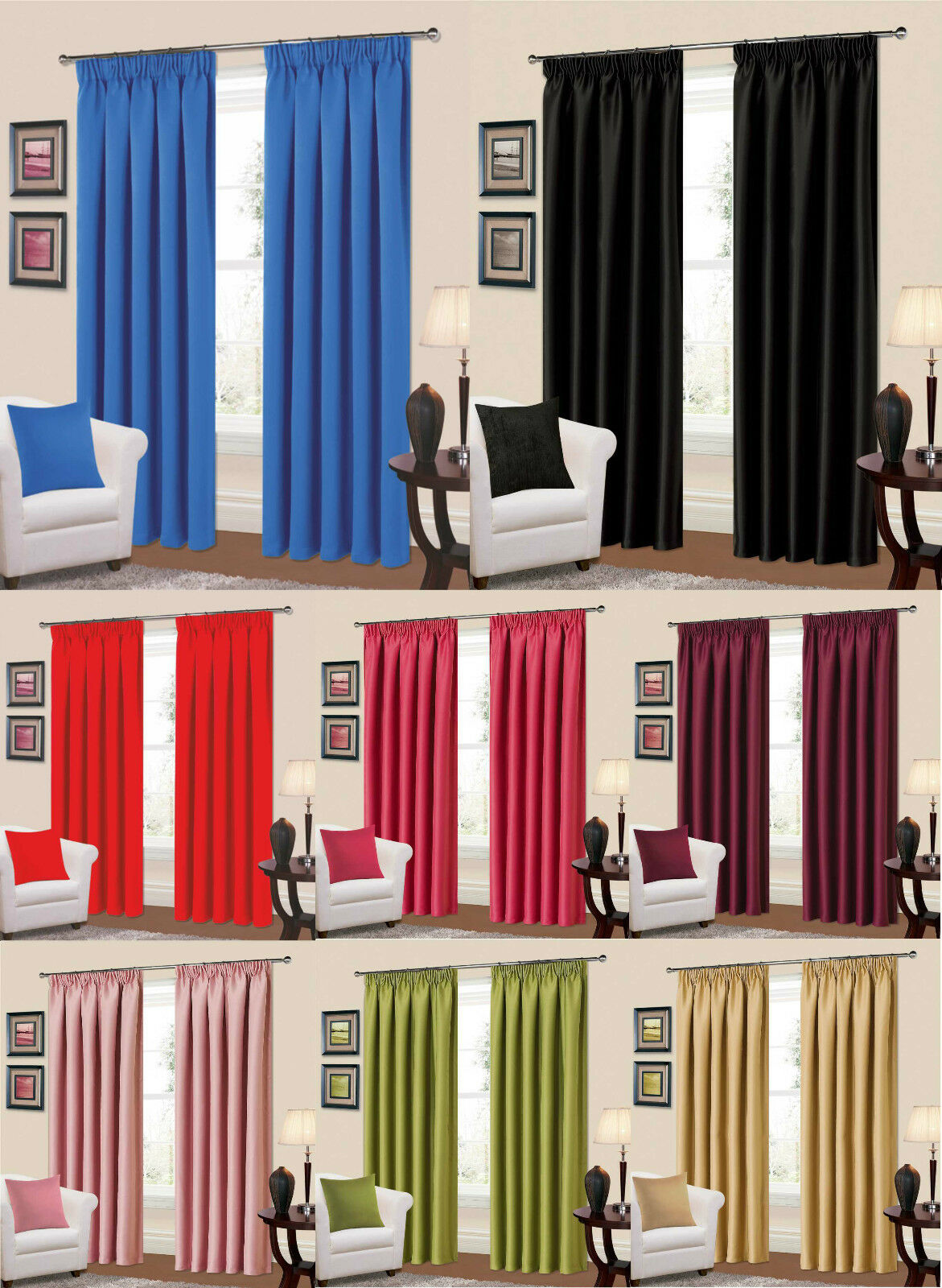 Plain Thermal Blackout Curtains Ready Made Pencil Pleat Black Red Pink Plum Blue 1 Of 1FREE Shipping