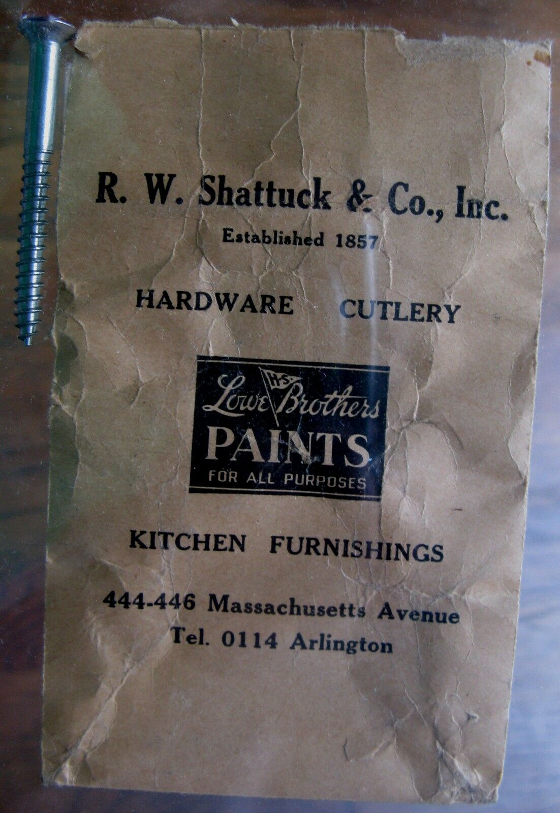 R W Shattuck Hardware Arlington Ma. Envelope and Screw