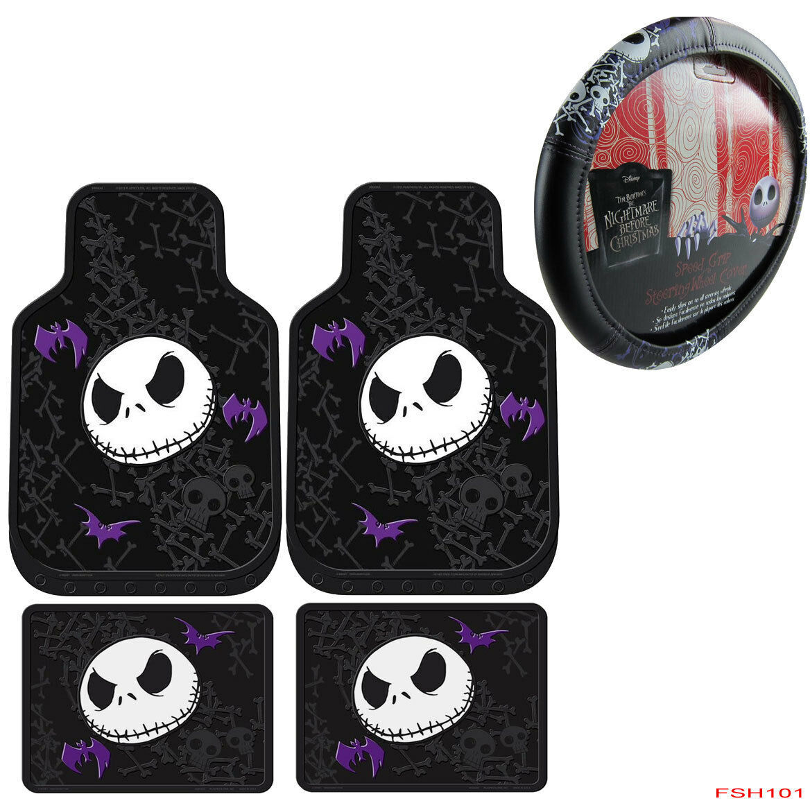 1 of 3free shipping 5pcs nightmare before christmas car truck floor mats steering wheel cover set - Nightmare Before Christmas Steering Wheel Cover