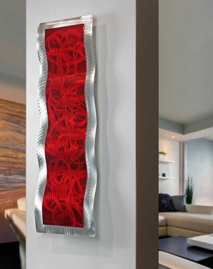 Wall Decor Red : Modern abstract metal wall art red home decor accent