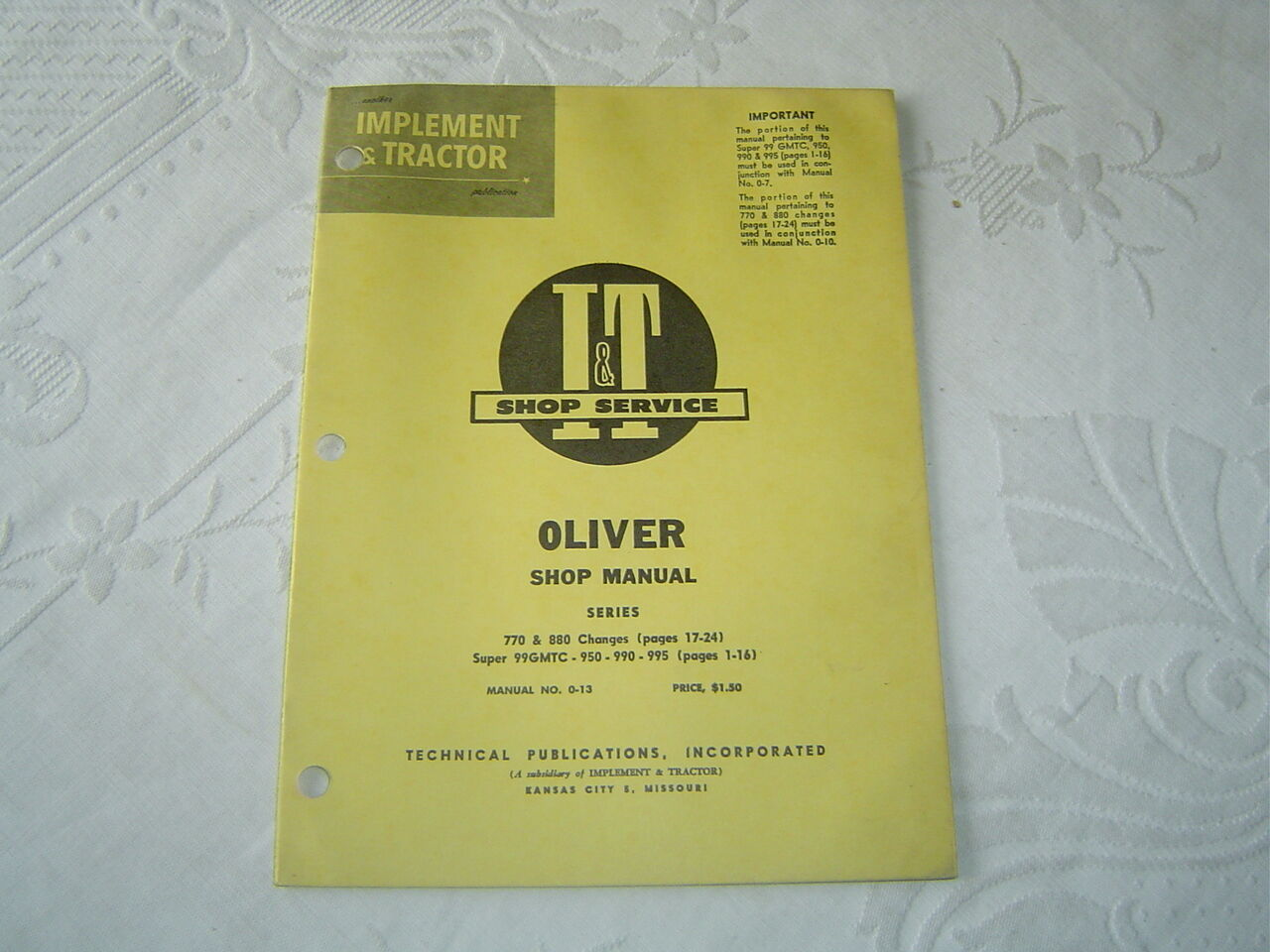 Oliver 770 880 950 990 995 99 tractor changes service shop manual 1 of  1Only 1 available See More