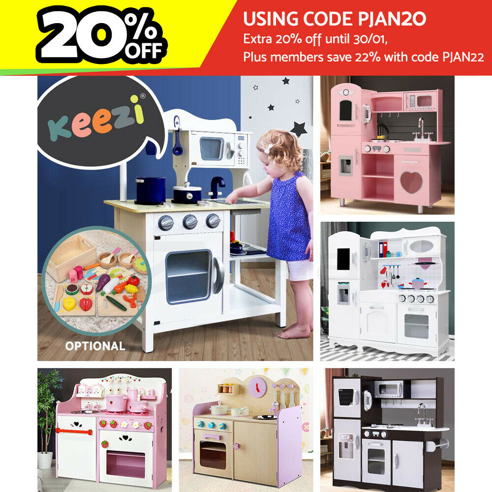 Wooden kitchen pretend play set toy kids toddlers cooking for Kitchen set toy kingdom