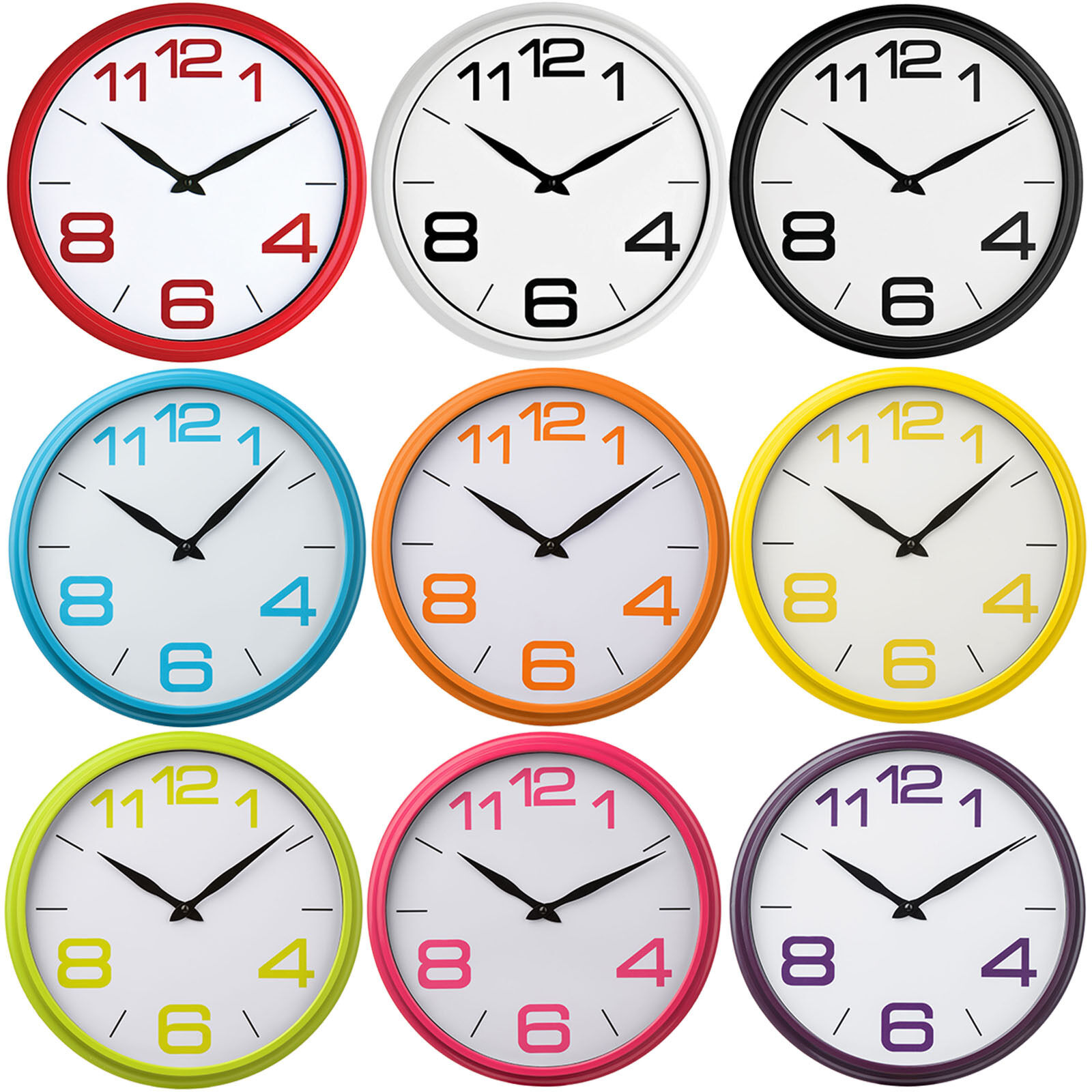 36cm Wall Clock Small Round Plastic Kitchen Office Modern Time Sign Decoration 1 Of 1free Shipping