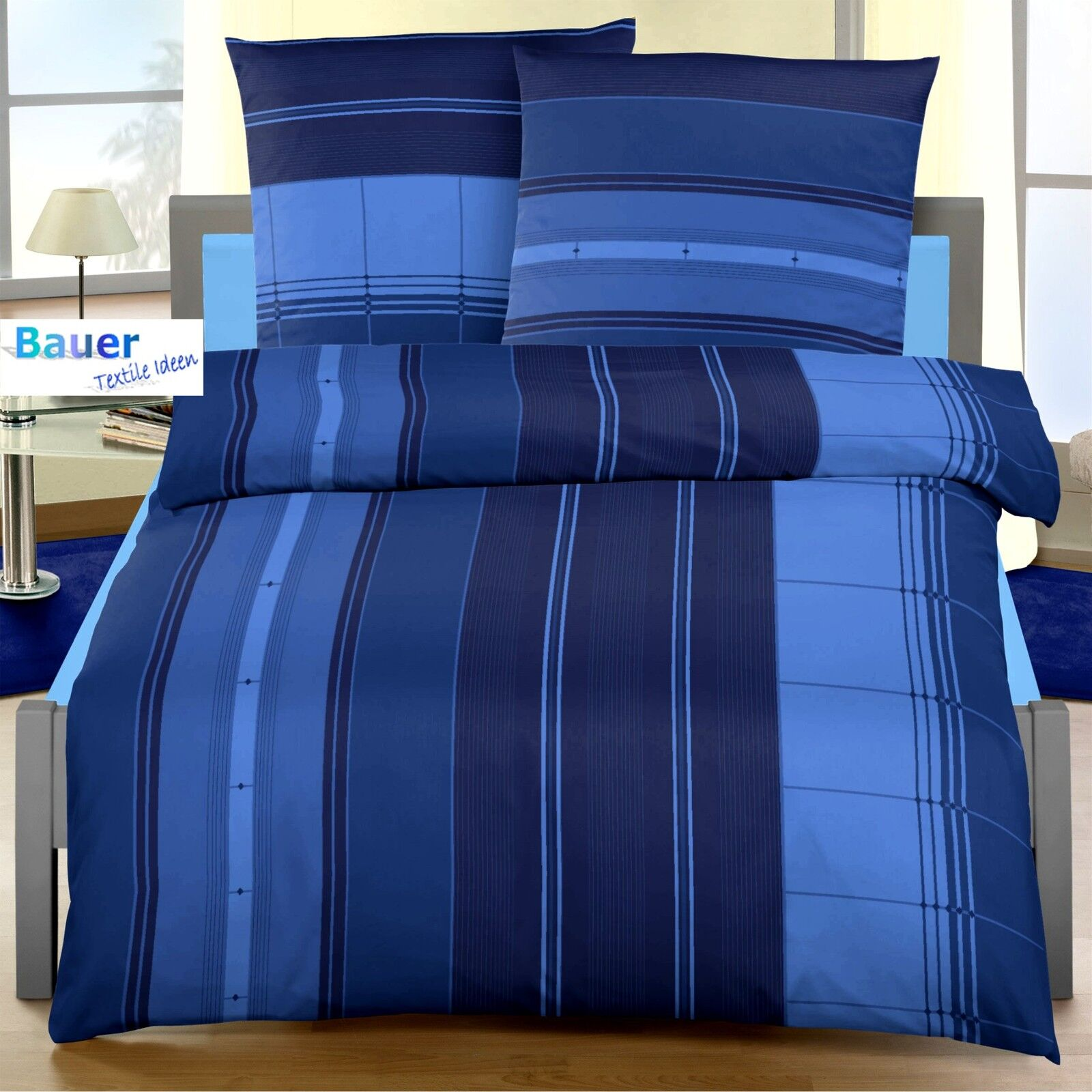 bettw sche 135x200 cm nadelstreifen marine blau 1444 biber eur 20 95 picclick de. Black Bedroom Furniture Sets. Home Design Ideas