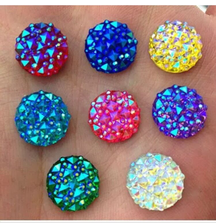 60pcs mixed ab 12mm flat back round resin rhinestones for Rhinestone jewels for crafts
