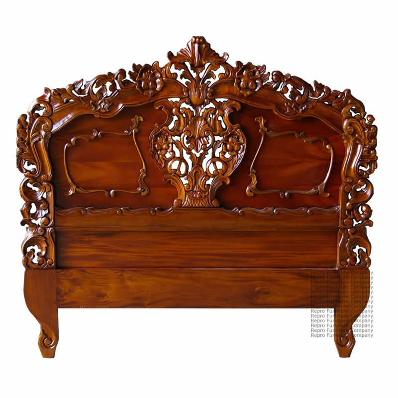Rococo Headboard - Mahogany - Suitable Double or King Size - New