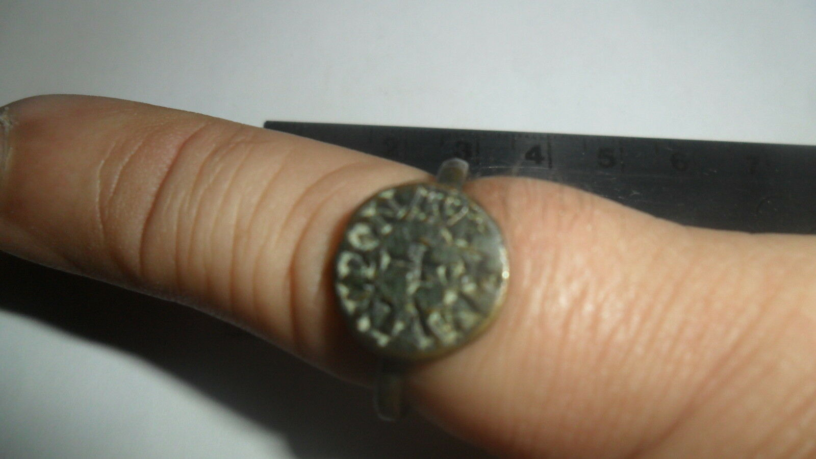 Ancient Byzantine Ring - Cross At Center - Brass/ Bronze