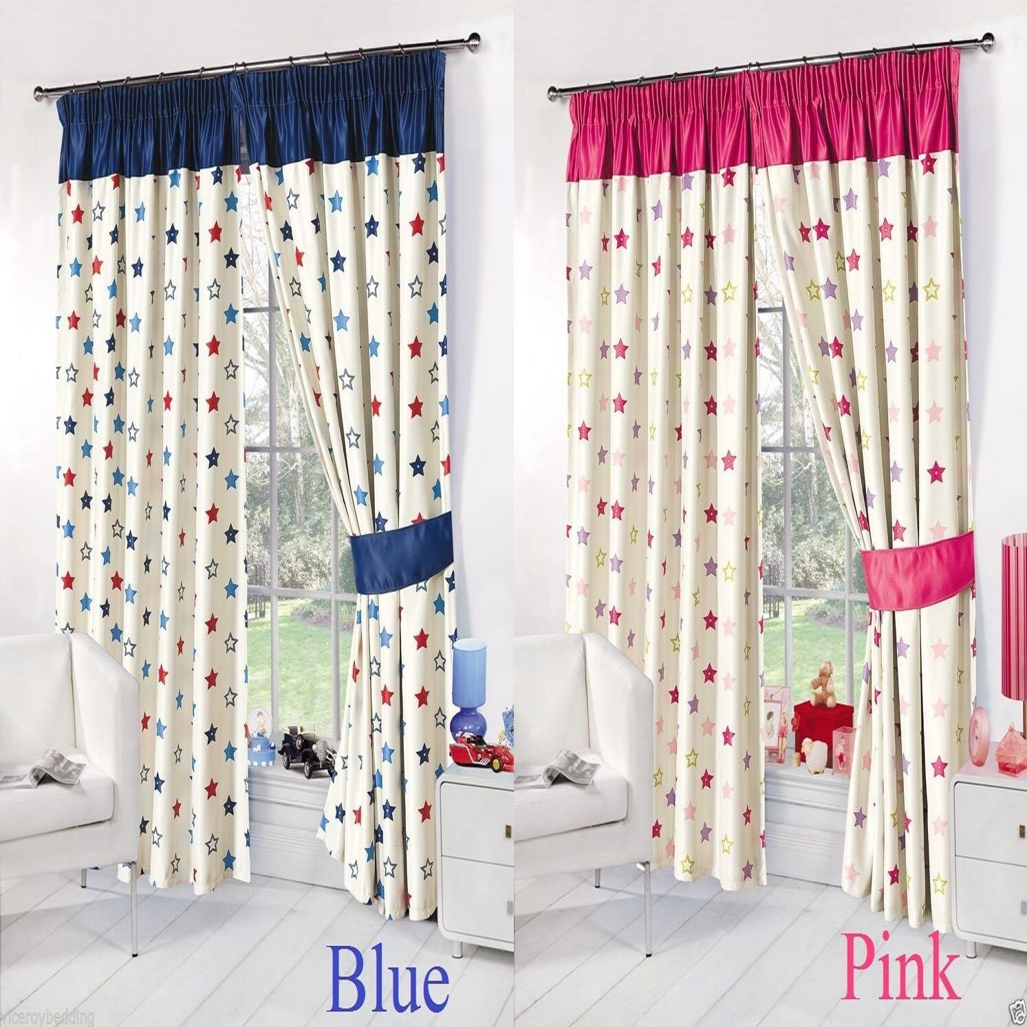 Childrens Kids Stars Thermal Blackout Curtains Bedroom Curtains Pink Blue Picclick Uk