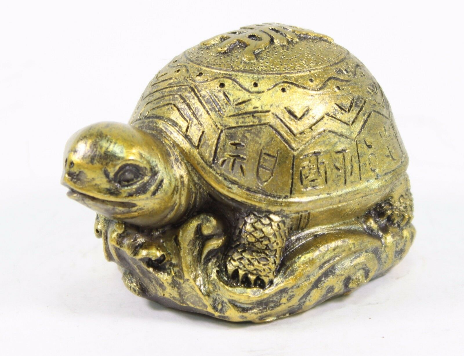 3 gold feng shui lucky turtle statue figurine paperweight gift home decor picclick ca. Black Bedroom Furniture Sets. Home Design Ideas