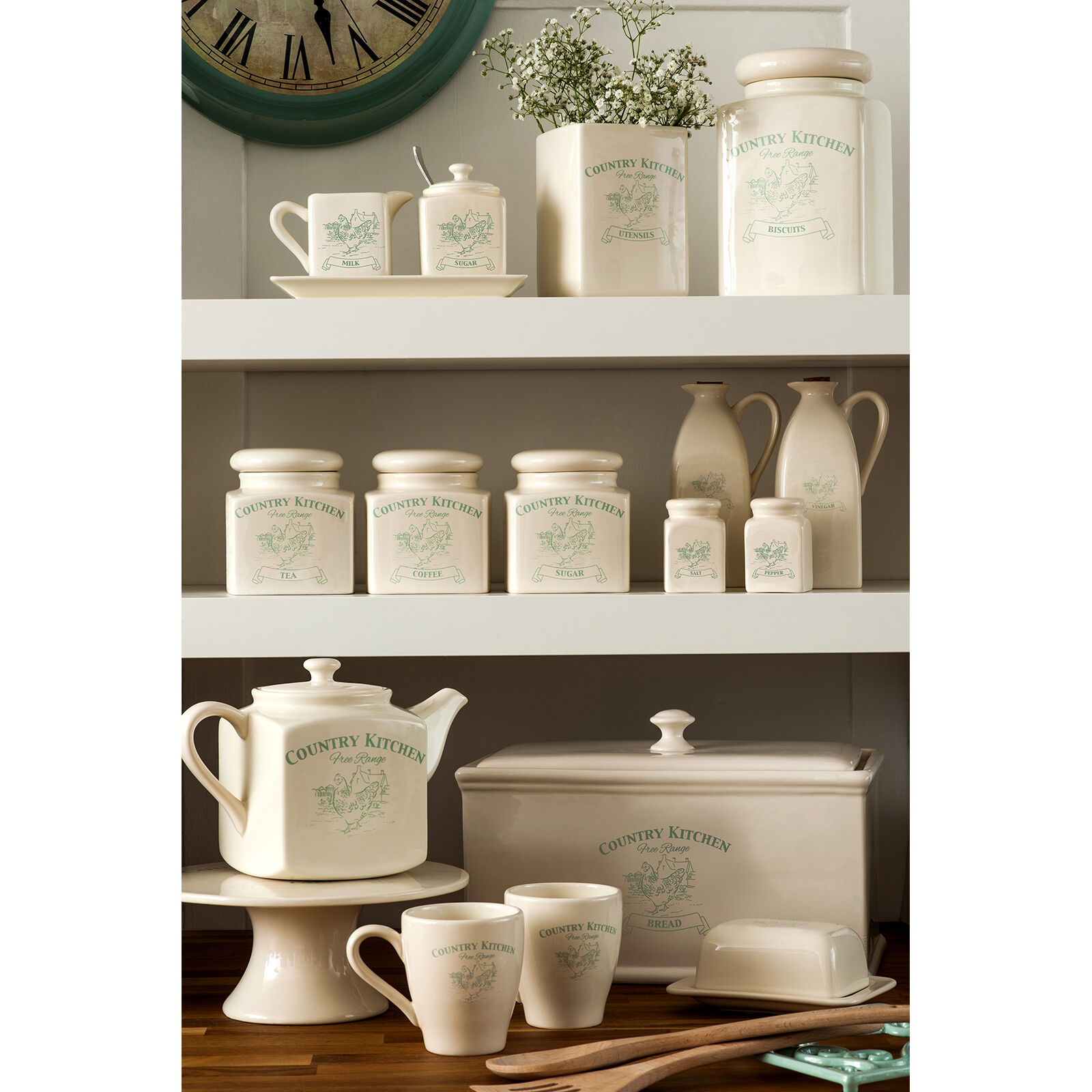 Kitchen Tea Accessories: VINTAGE COUNTRY KITCHEN Tea Coffee Canisters Biscuit Bread