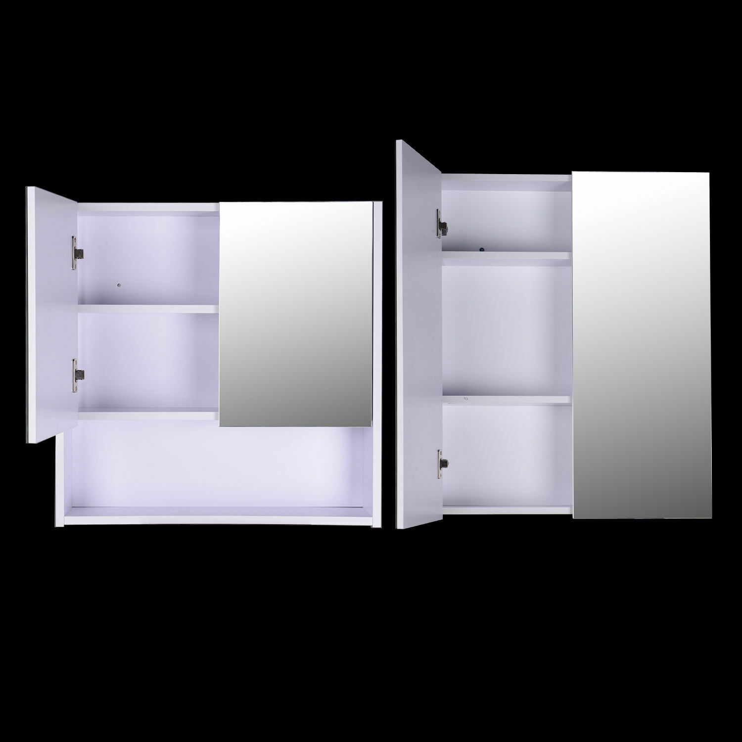 Wall Mounted Mirror Cabinet Vanity Storage Cupboard Shelf Bathroom Double Door