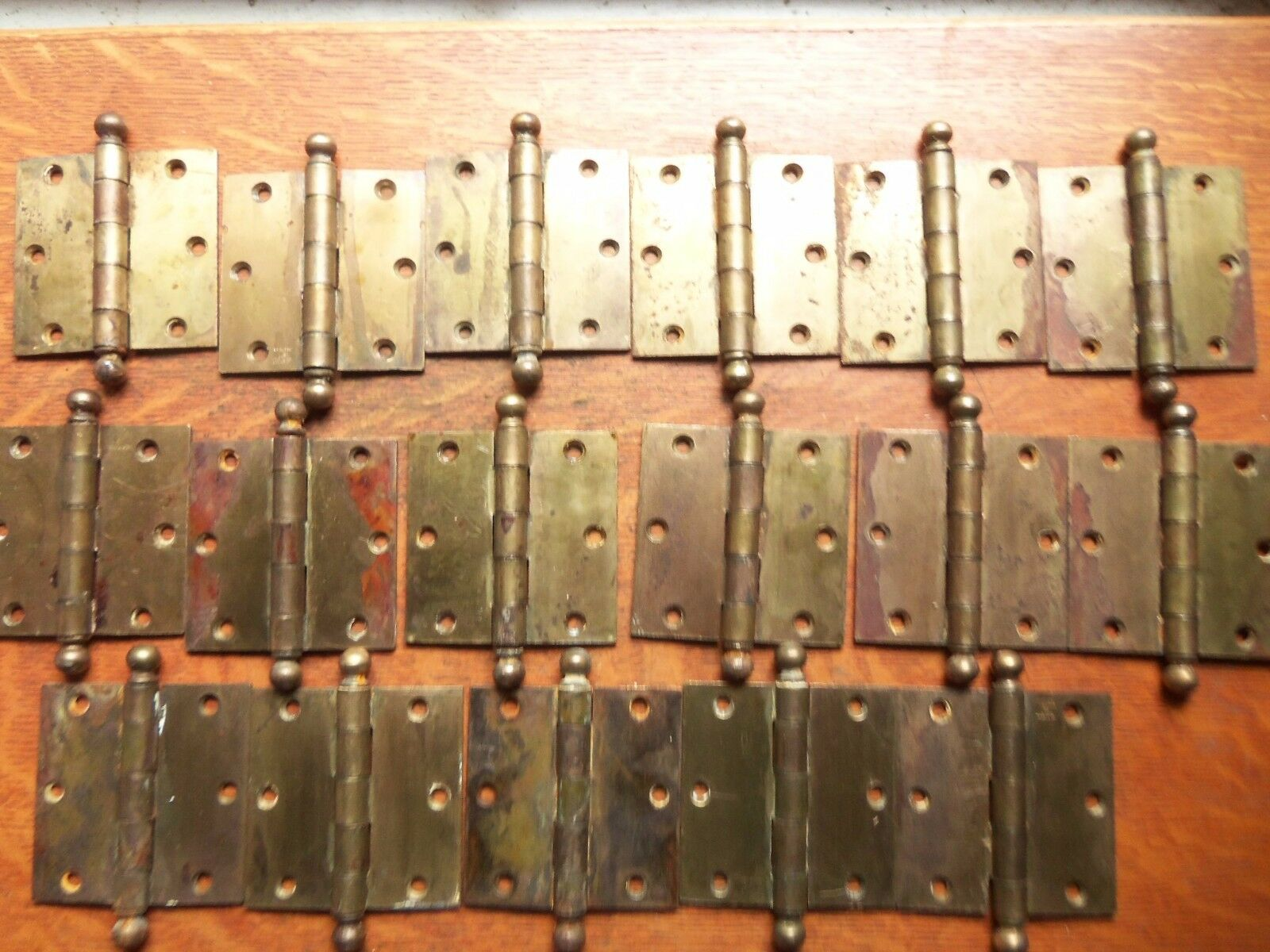 "Seventeen Antique Brass-Plated Craftsman Door Hinges c1930  3 1/2"" Stanley"