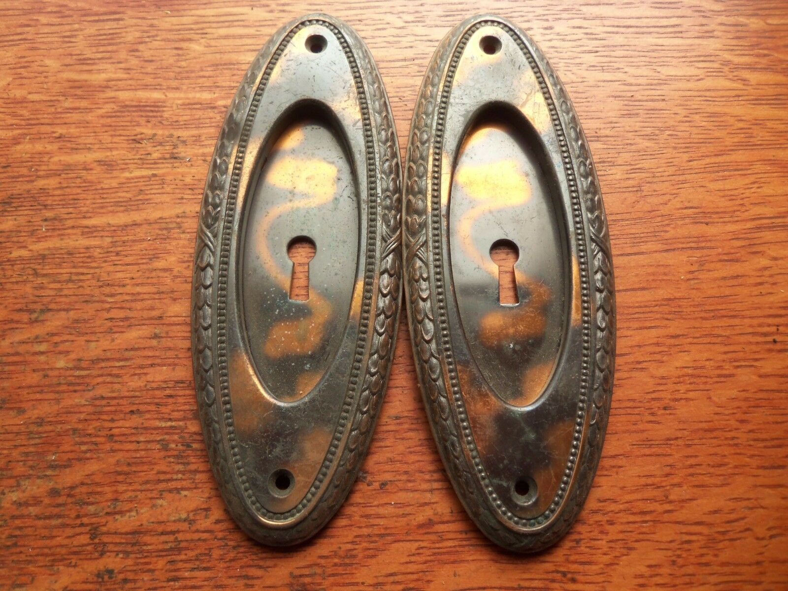 Two Antique Victorian Copper &-Brass Pocket Door Pulls Pull Plates c1885 Y & T