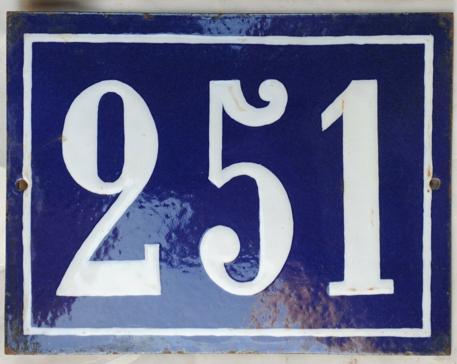 Large old French house number 251 door gate plate plaque enamel steel metal sign