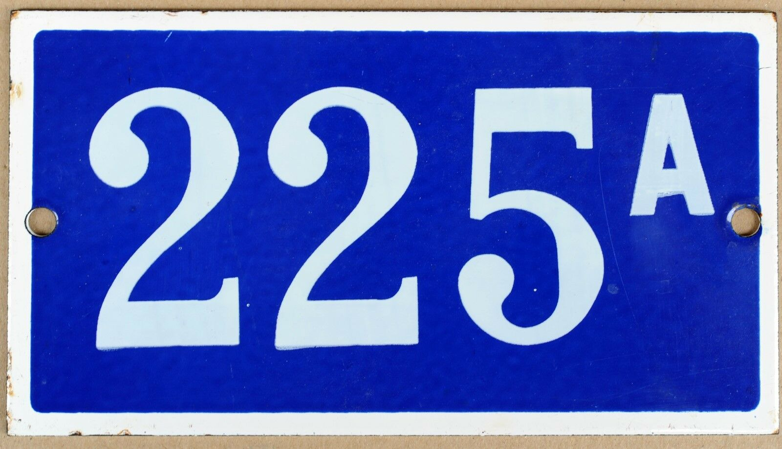 Old blue French house number door gate plate plaque enamel metal sign VGC 225 A