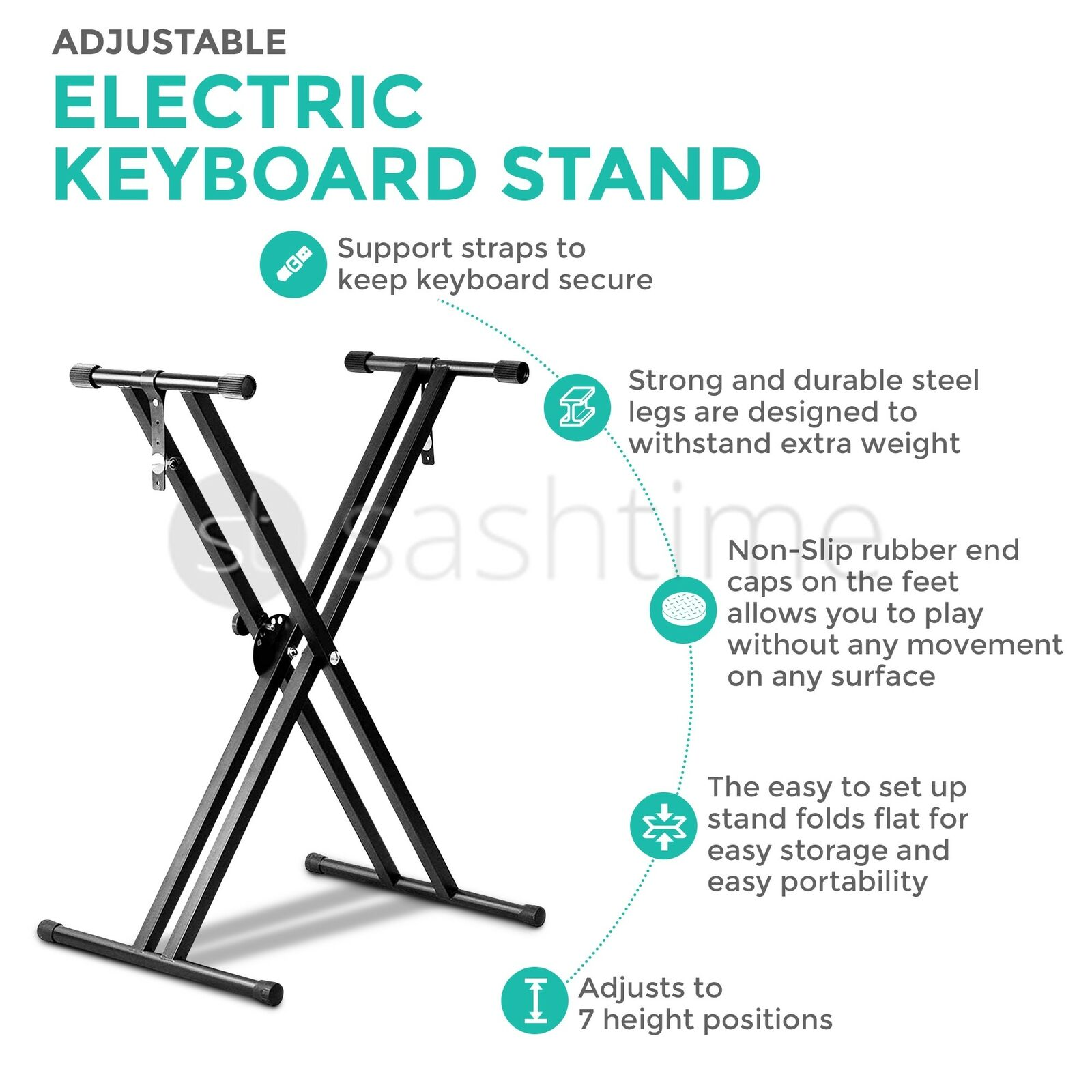 LIVIVO FOLDING Adjustable Double X Frame Keyboard Stand With Straps ...