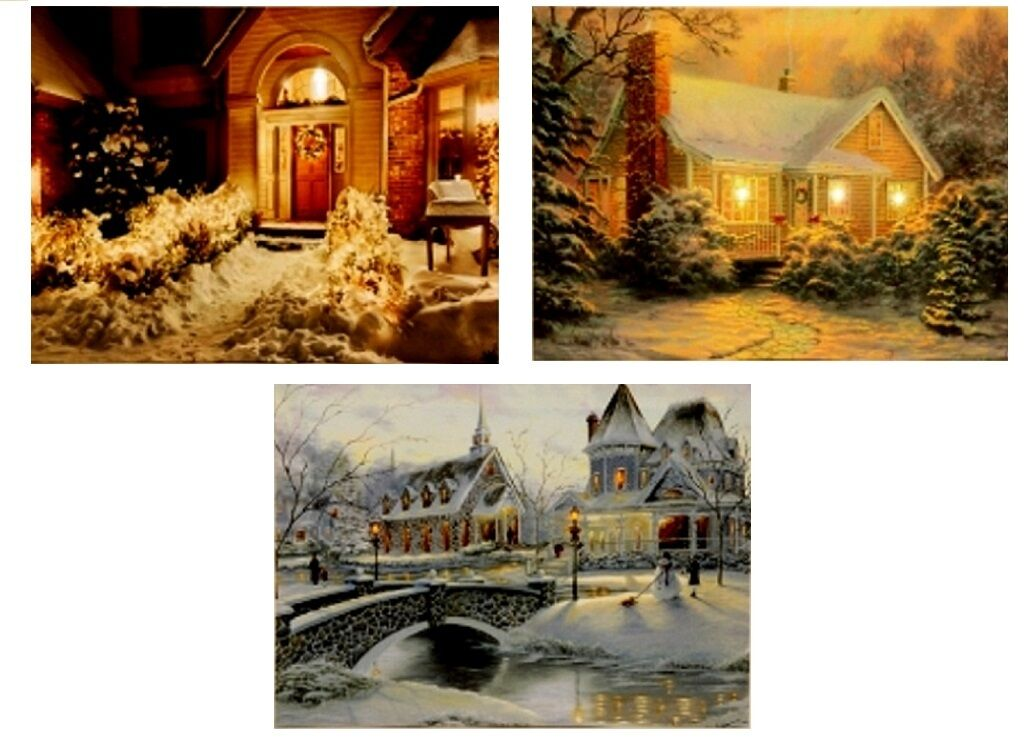 3er set wandbilder led beleuchtet winterlandschaft bild je 30cm x 40cm lichter eur 19 95. Black Bedroom Furniture Sets. Home Design Ideas