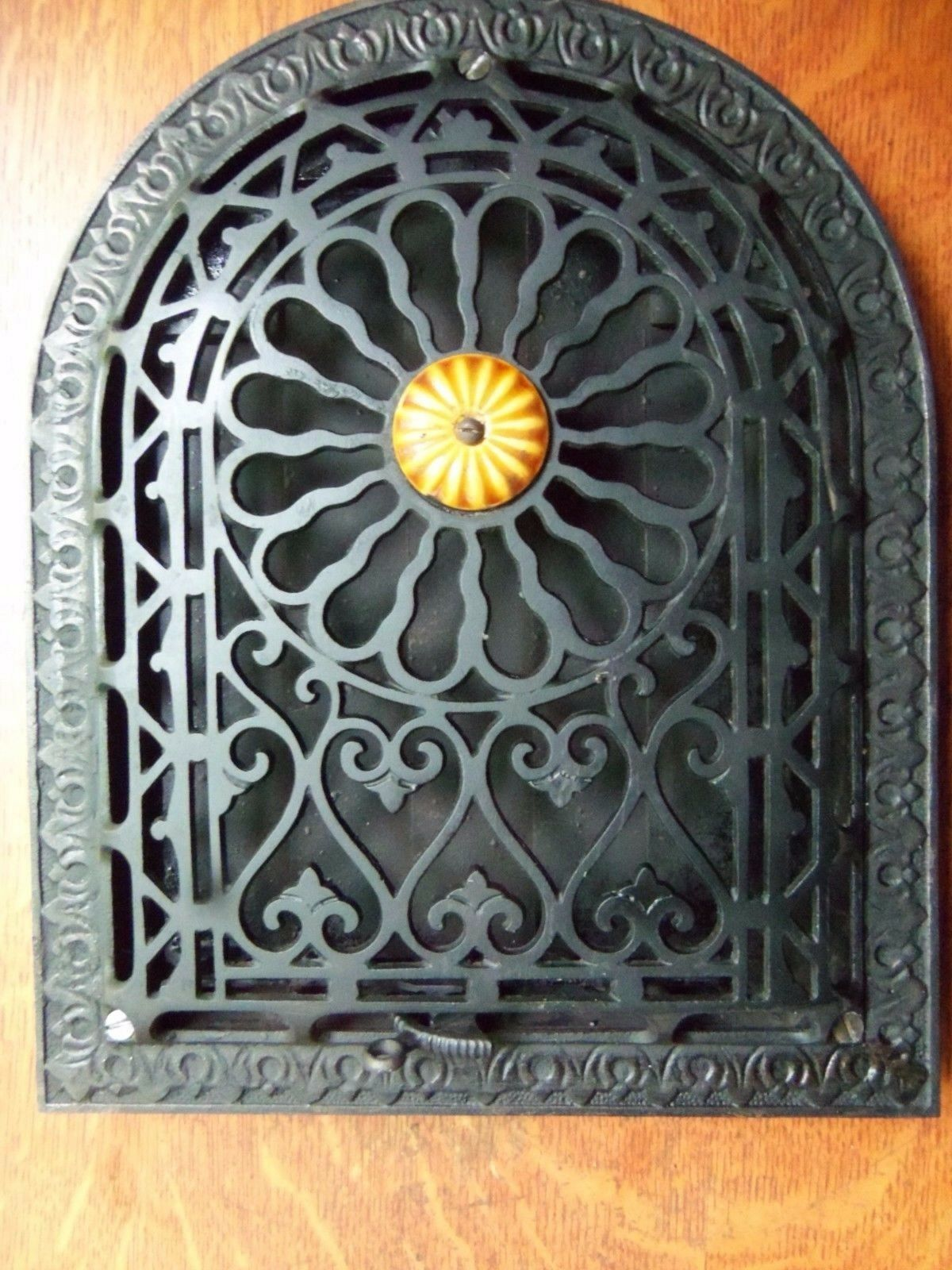 Antique Victorian Heater Vent Grate or Cover & Louvers - Restored - c1895