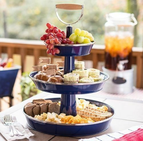 food serving tray 3 tier metal snack party stand galvanized steel fruit cheese. Black Bedroom Furniture Sets. Home Design Ideas