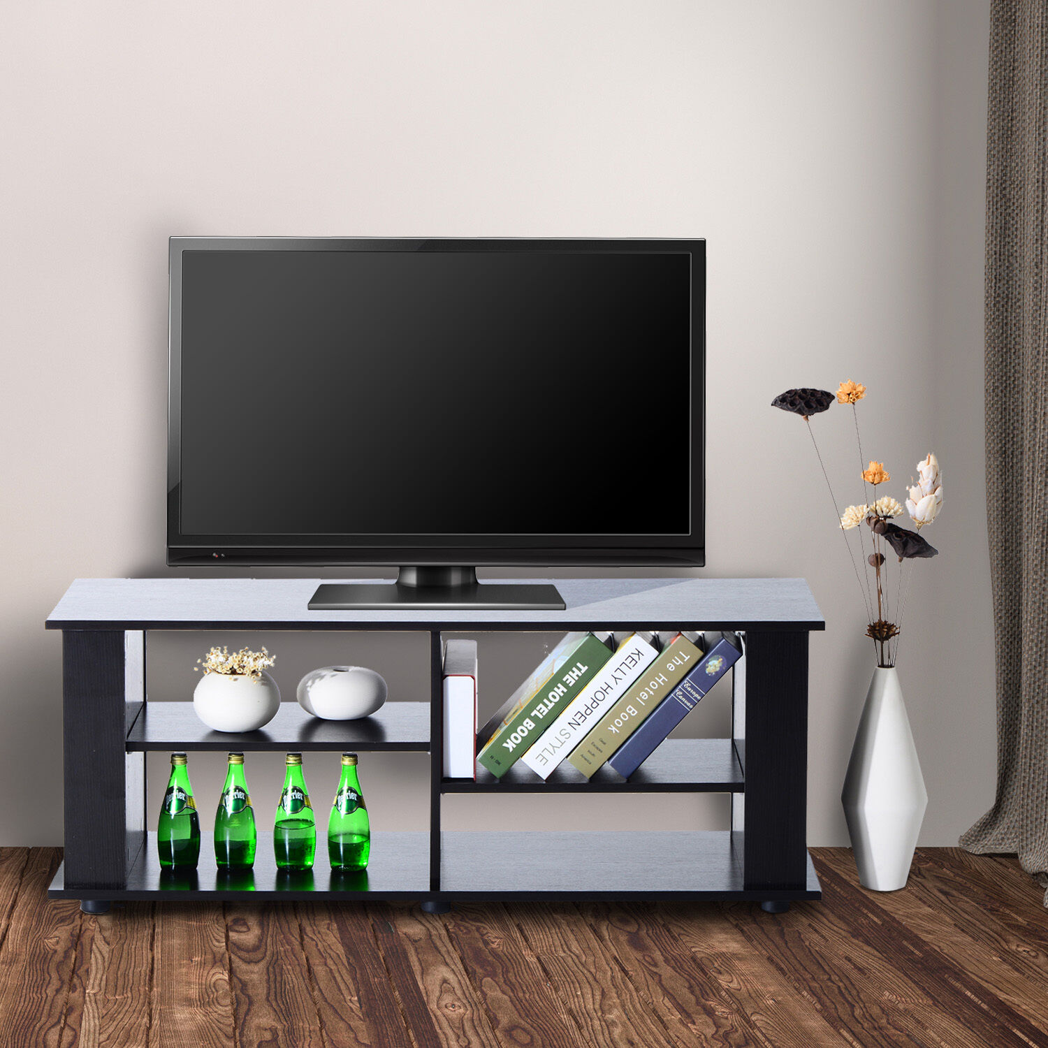 homcom tv lowboard board schrank tisch fernsehtisch regal holz schwarz eur 40 90 picclick at. Black Bedroom Furniture Sets. Home Design Ideas