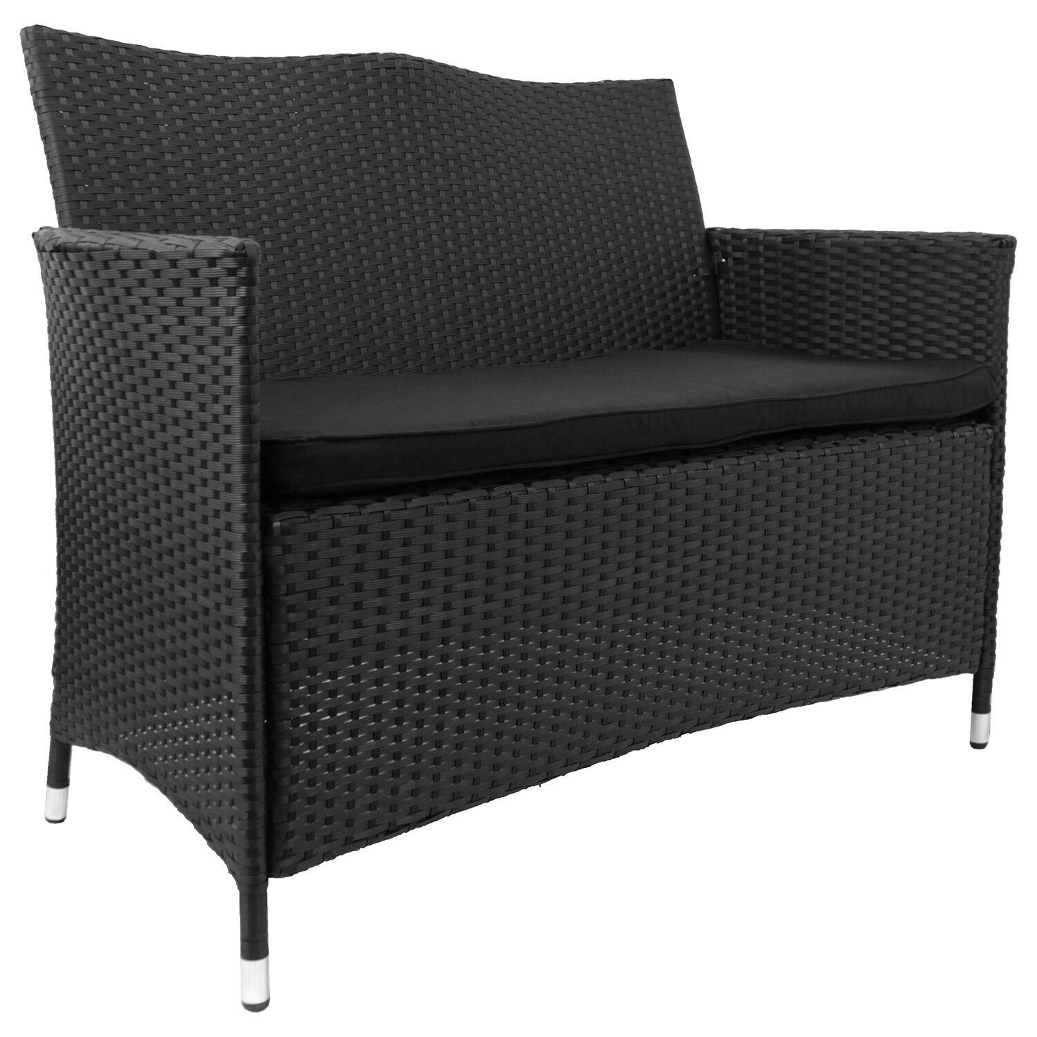 gartenbank sitzbank bank wetterfest metall polyrattan inkl sitzkissen schwarz eur 99 99. Black Bedroom Furniture Sets. Home Design Ideas