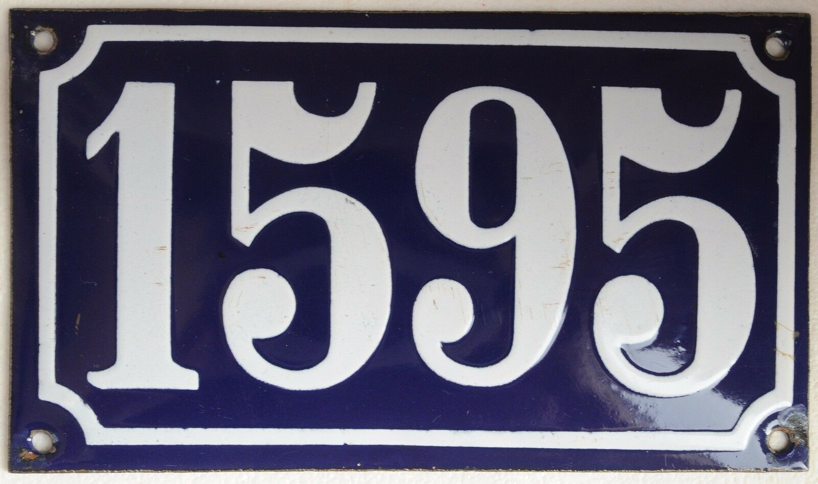Old blue French house number 1595 door gate plate wall plaque enamel metal sign