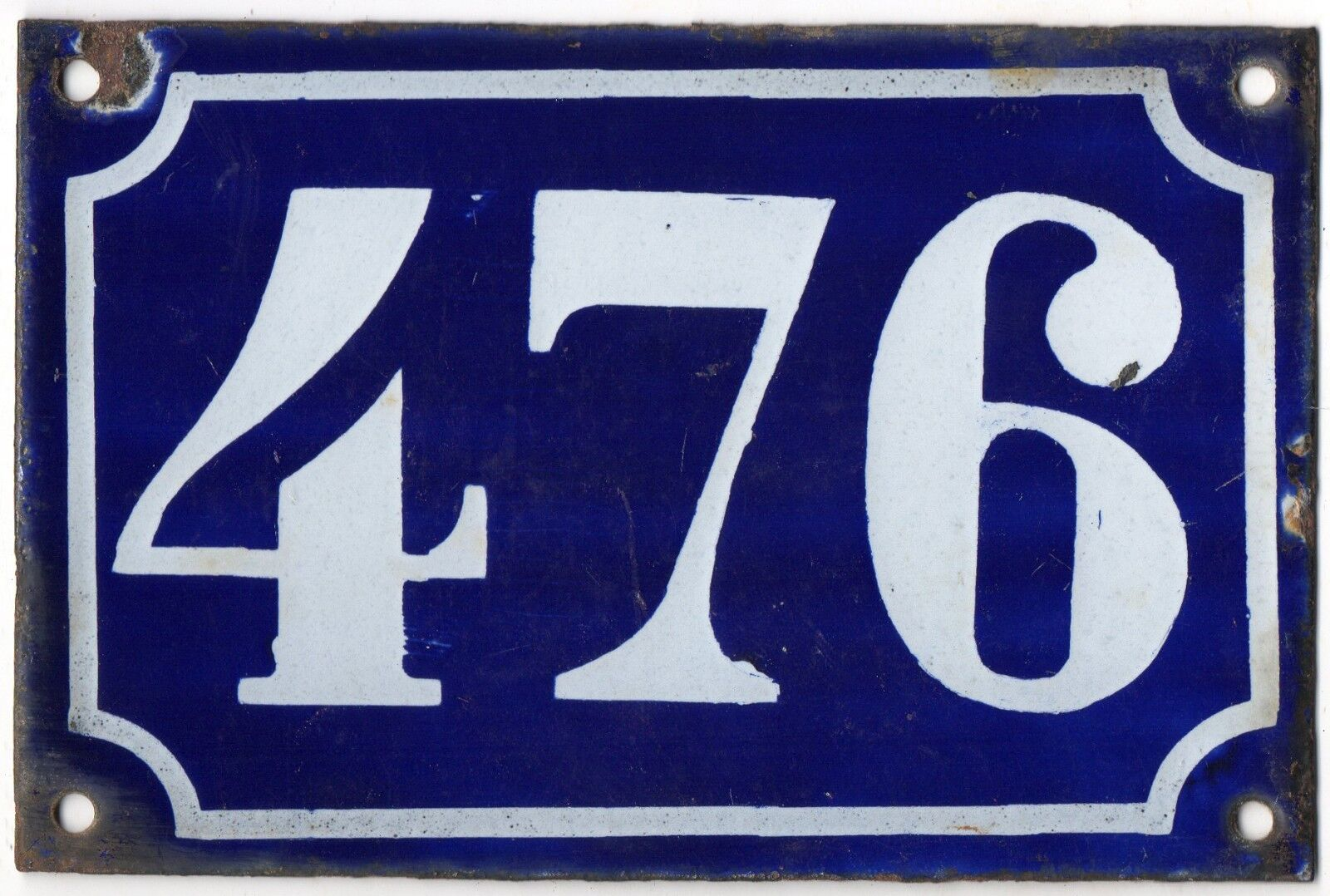Old blue French house number 476 door gate plate plaque enamel metal sign c1900