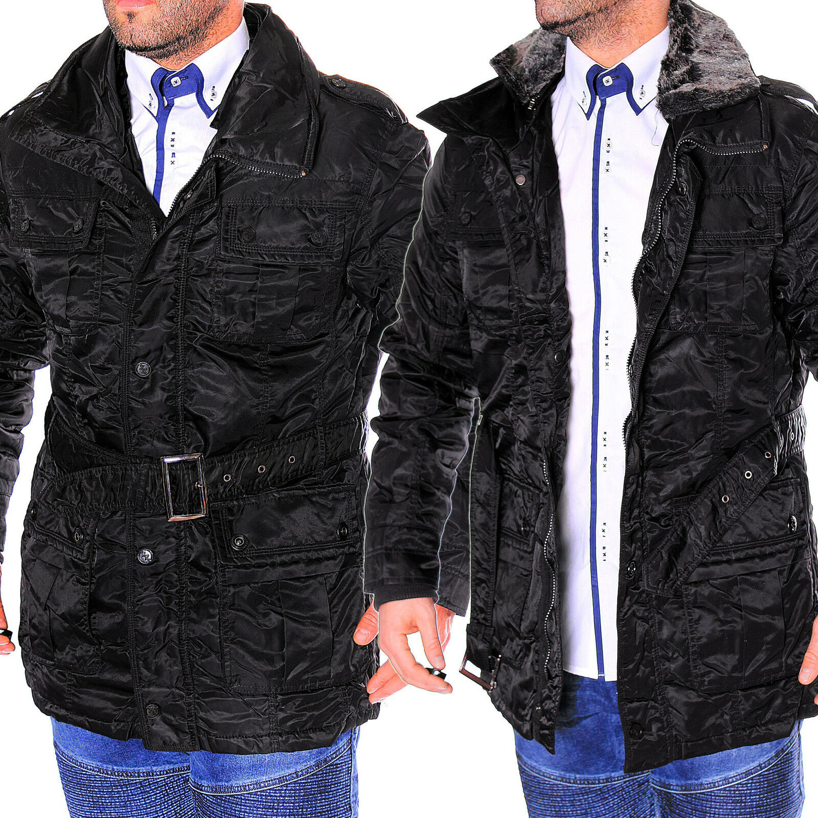 young rich y r jacke herren mantel parka winter glanz warm outdoor herbst neu eur 19 92. Black Bedroom Furniture Sets. Home Design Ideas